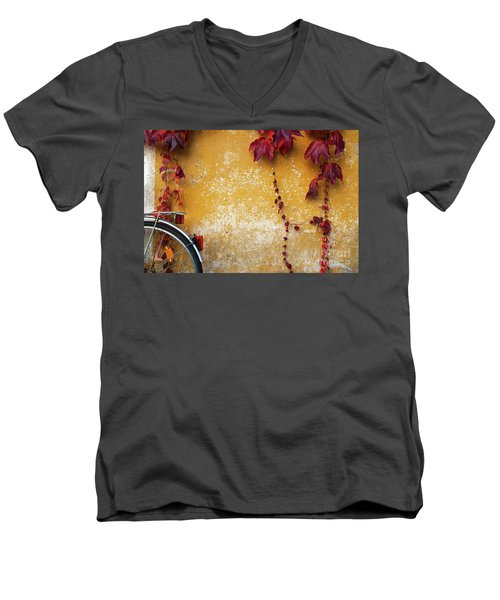 Autumn In Red Men's V-Neck T-Shirt by Yuri Santin