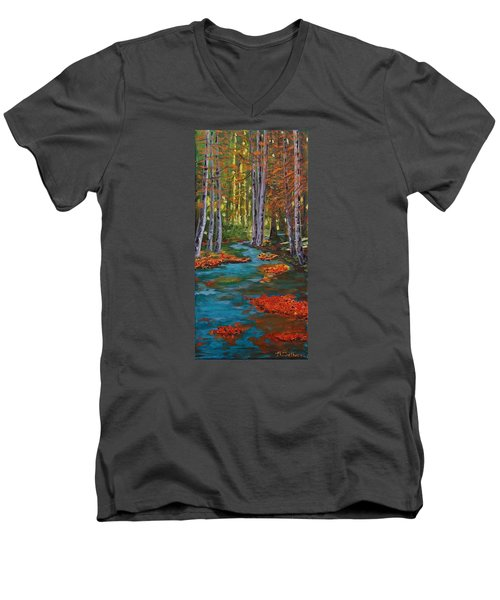 Autumn In The Air Men's V-Neck T-Shirt by Mike Caitham
