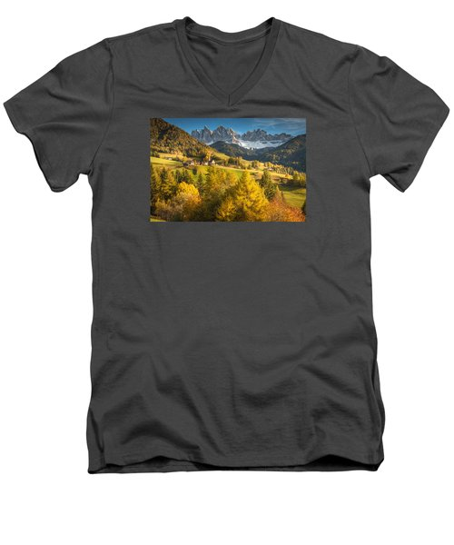 Autumn In The Alps Men's V-Neck T-Shirt