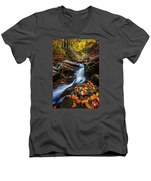 Autumn In The Catskills Men's V-Neck T-Shirt by Rick Berk