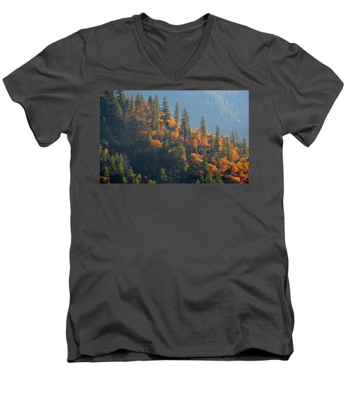 Autumn In The Feather River Canyon Men's V-Neck T-Shirt by AJ Schibig