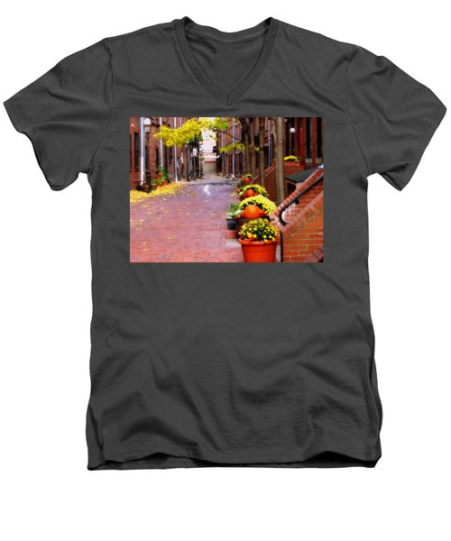 Men's V-Neck T-Shirt featuring the photograph Autumn In The North End by Bruce Carpenter