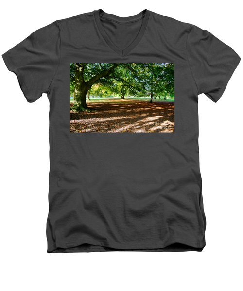 Men's V-Neck T-Shirt featuring the photograph Autumn In The Park by Colin Rayner