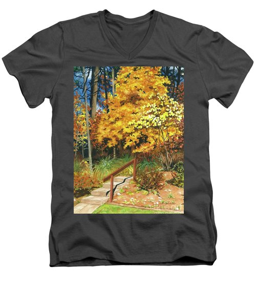 Men's V-Neck T-Shirt featuring the painting Autumn Invitation by Barbara Jewell