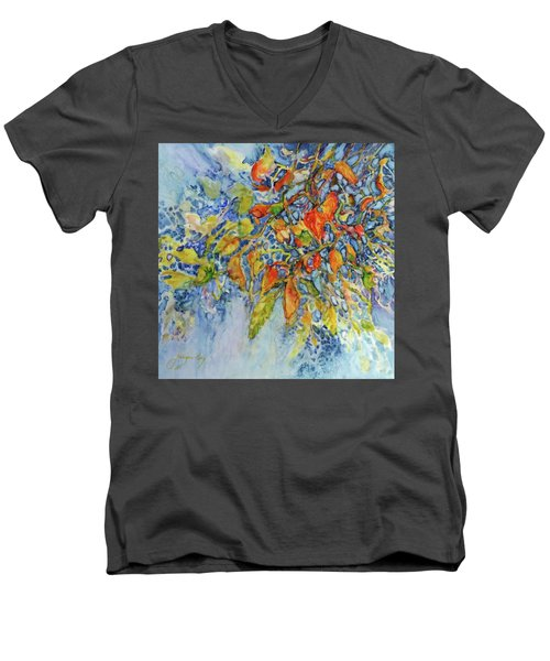 Men's V-Neck T-Shirt featuring the painting Autumn Lace by Joanne Smoley
