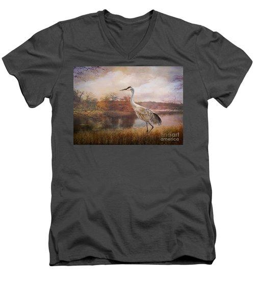 Autumn Lake Crane Men's V-Neck T-Shirt