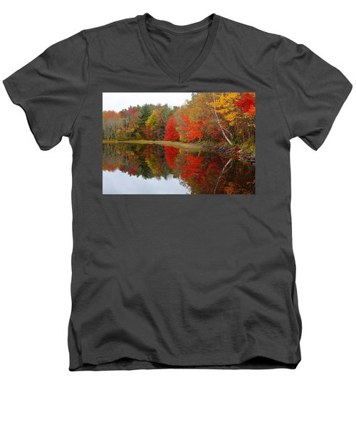 Autumn Lake, Nova Scotia Men's V-Neck T-Shirt