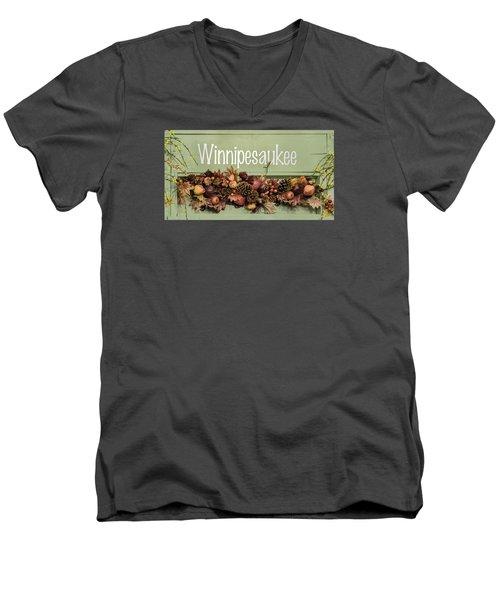 Men's V-Neck T-Shirt featuring the photograph Autumn Lake Winnipesaukee Sign Fall by Betty Denise