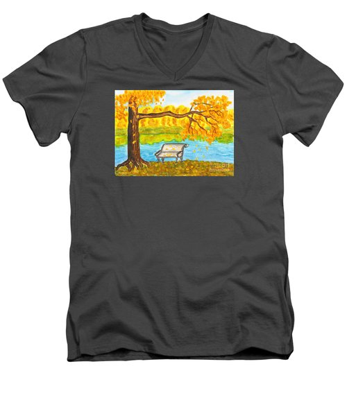 Autumn Landscape With Tree And Bench, Painting Men's V-Neck T-Shirt