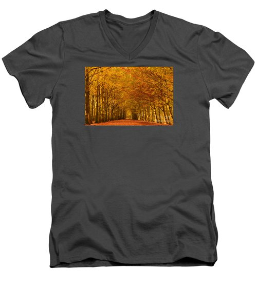 Autumn Lane In An Orange Forest Men's V-Neck T-Shirt by IPics Photography
