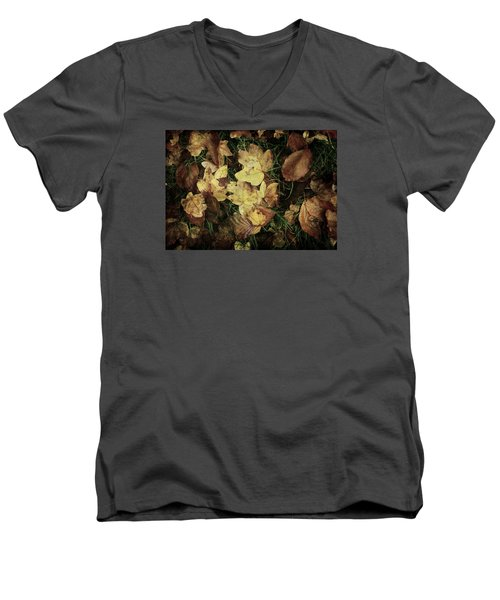 Autumn Leaves Are Falling Down... Men's V-Neck T-Shirt by Vittorio Chiampan