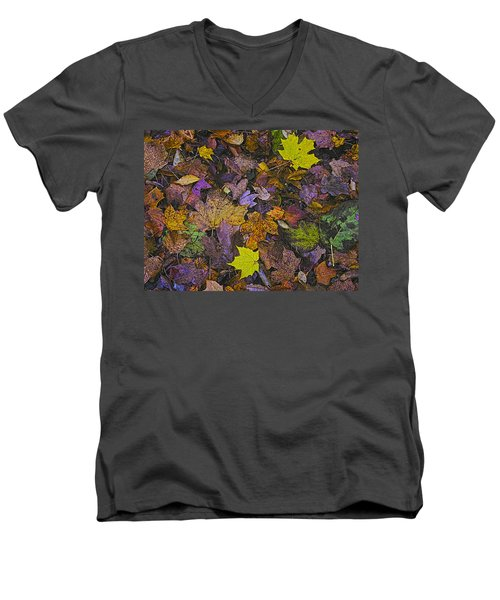 Autumn Leaves At Side Of Road Men's V-Neck T-Shirt