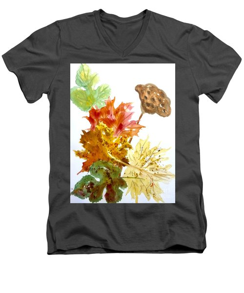 Autumn Leaves Still Life Men's V-Neck T-Shirt by Ellen Levinson