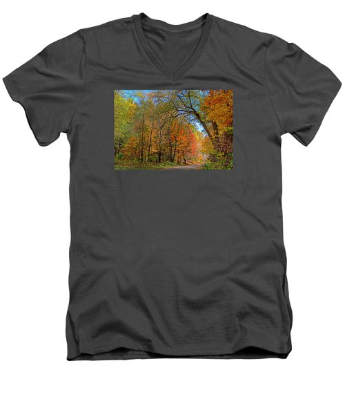 Men's V-Neck T-Shirt featuring the photograph Autumn Light by Rodney Campbell