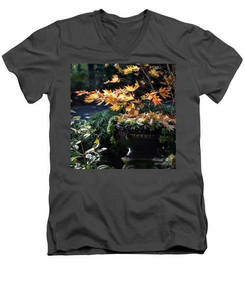 Autumn Maple And Succulents Men's V-Neck T-Shirt by Tanya Searcy