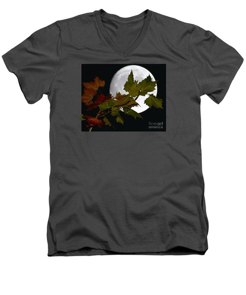 Autumn Moon Men's V-Neck T-Shirt by Patrick Witz