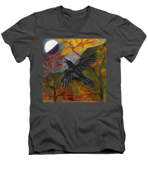 Autumn Moon Raven Men's V-Neck T-Shirt