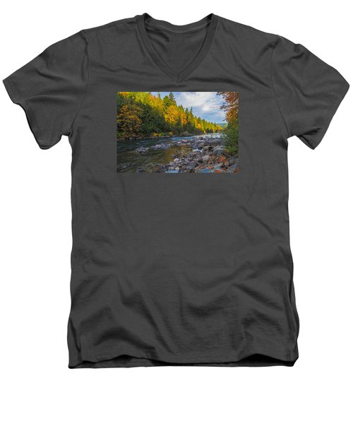 Autumn Morning Light On The Snoqualmie Men's V-Neck T-Shirt by Ken Stanback
