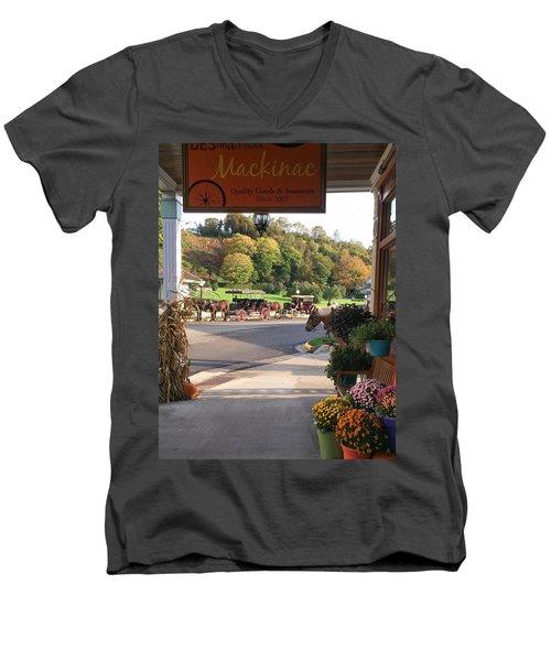 Autumn Morning On Mackinac Island Men's V-Neck T-Shirt