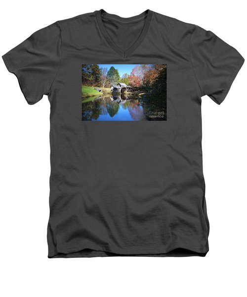 Autumn On The Blue Ridge Parkway At Mabry Mill Men's V-Neck T-Shirt by Nature Scapes Fine Art