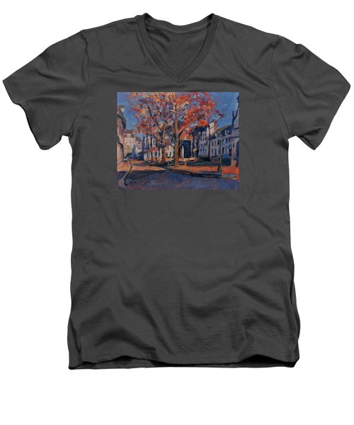 Men's V-Neck T-Shirt featuring the painting Autumn On The Square Of Our Lady Maastricht by Nop Briex