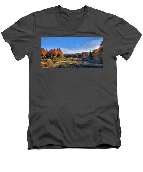 Men's V-Neck T-Shirt featuring the photograph Autumn Panorama At The Green Bridge by David Patterson