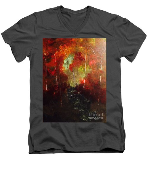 Men's V-Neck T-Shirt featuring the painting Sunset Trail by Denise Tomasura