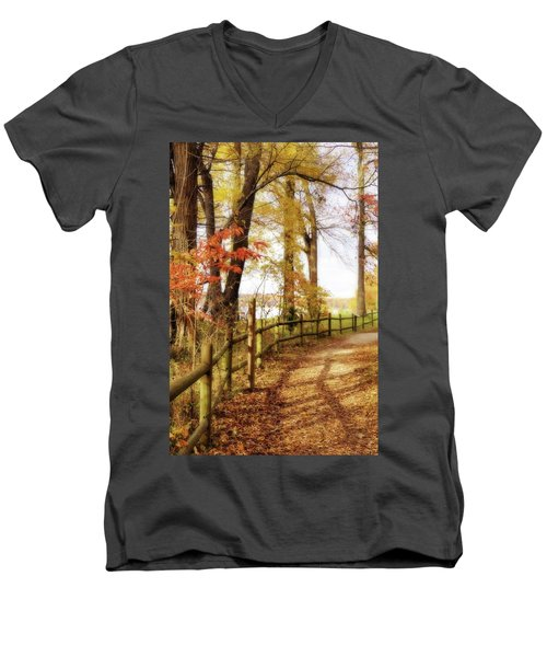 Men's V-Neck T-Shirt featuring the photograph Autumn Pathway by Jean Goodwin Brooks