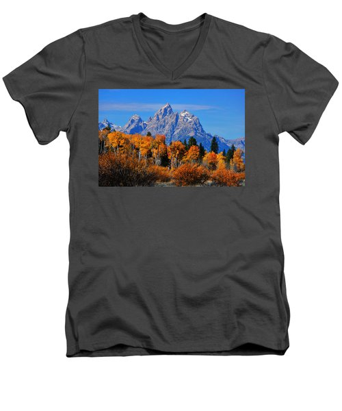 Autumn Peak Beneath The Peaks Men's V-Neck T-Shirt by Greg Norrell
