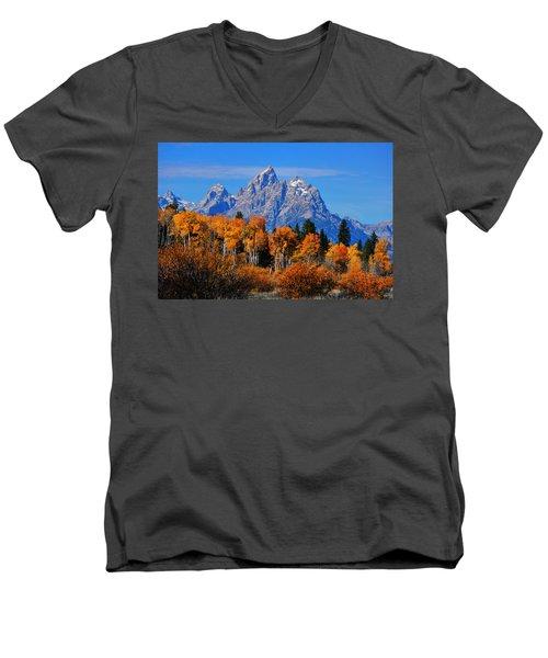 Autumn Peak Beneath The Peaks Men's V-Neck T-Shirt