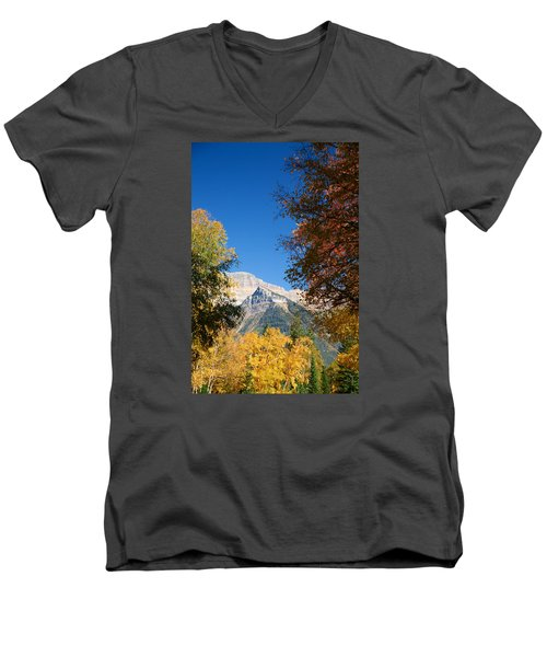Autumn Peaks Men's V-Neck T-Shirt by Lawrence Boothby