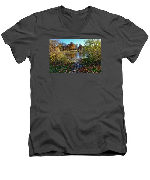 Men's V-Neck T-Shirt featuring the photograph Autumn Pond by Nikki McInnes