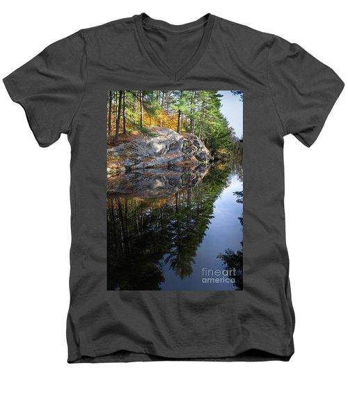 Autumn Reflections At Runaround Pond In Durham Maine  -20224 Men's V-Neck T-Shirt