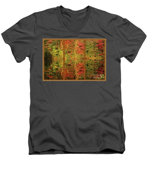 Men's V-Neck T-Shirt featuring the photograph Autumn Reflections In A Window by Smilin Eyes  Treasures