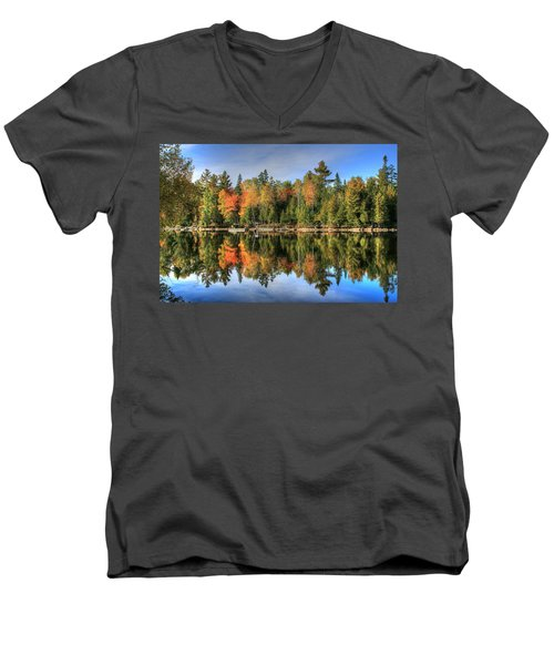 Men's V-Neck T-Shirt featuring the photograph Autumn Reflections Of Maine by Shelley Neff