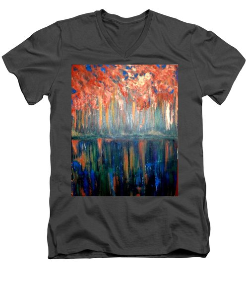 Men's V-Neck T-Shirt featuring the painting Autumn Reflections by Rae Chichilnitsky