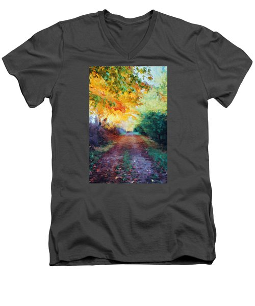 Men's V-Neck T-Shirt featuring the photograph Autumn Road by Diane Alexander