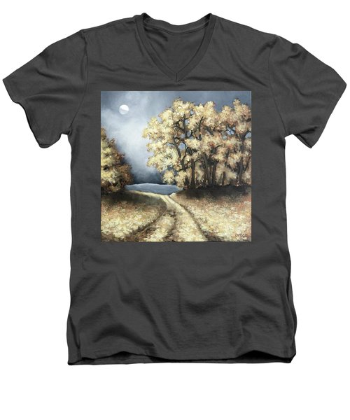 Men's V-Neck T-Shirt featuring the painting Autumn Road by Inese Poga