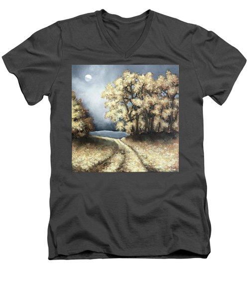 Autumn Road Men's V-Neck T-Shirt by Inese Poga