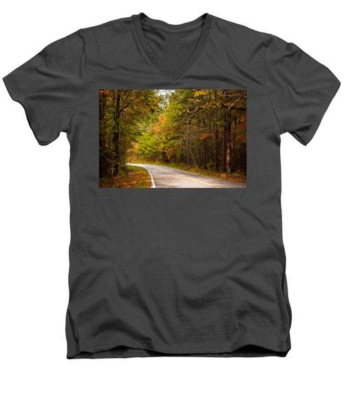 Autumn Road Men's V-Neck T-Shirt by Lana Trussell