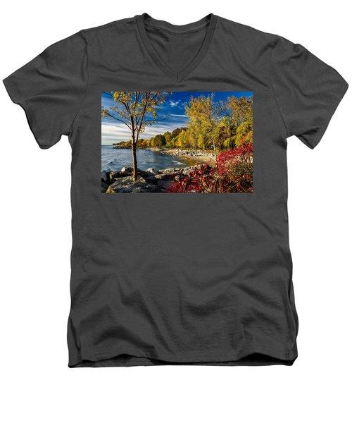 Autumn Scene Lake Ontario Canada Men's V-Neck T-Shirt