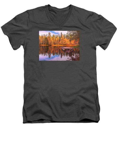 Men's V-Neck T-Shirt featuring the photograph Autumn Season  by Rose-Maries Pictures