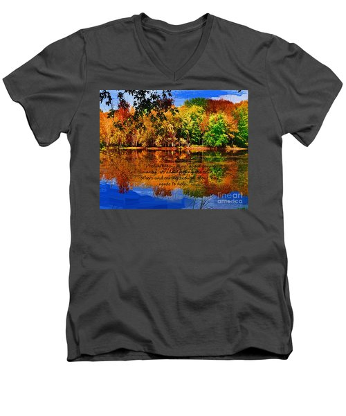 Autumn Serenity Philanthropy Painted Men's V-Neck T-Shirt by Diane E Berry