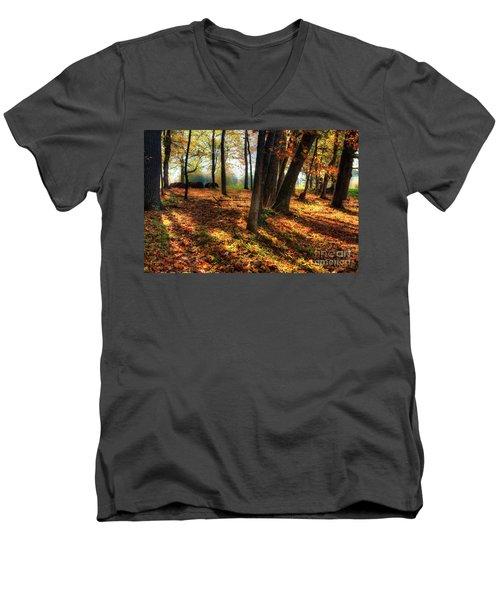 Autumn Shadows In The Blue Ridge Men's V-Neck T-Shirt by Dan Carmichael
