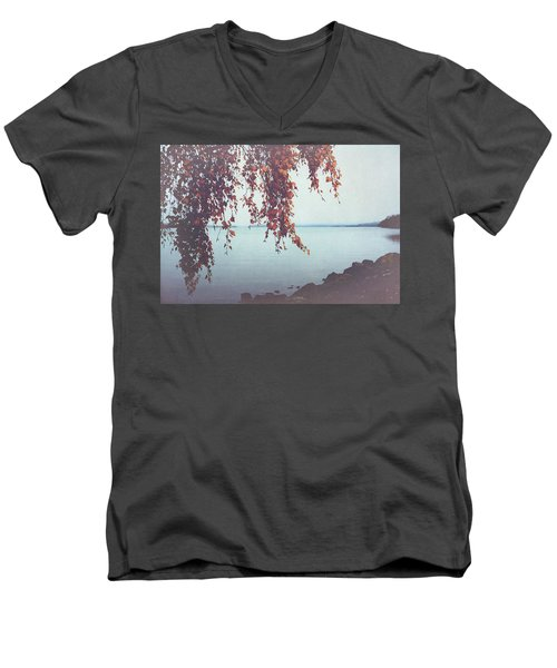 Men's V-Neck T-Shirt featuring the photograph Autumn Shore by Ari Salmela