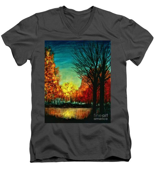 Autumn Silhouette  Men's V-Neck T-Shirt