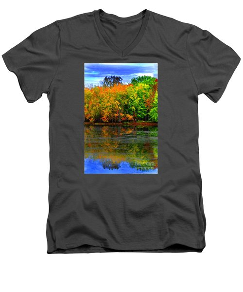 Autumn Sings Men's V-Neck T-Shirt by Diane E Berry