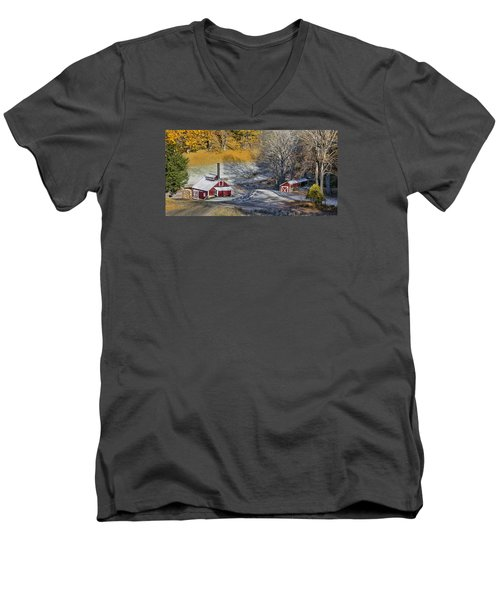 Men's V-Neck T-Shirt featuring the photograph Autumn Snow On Sugar Shack, Reading, Vt by Betty Denise