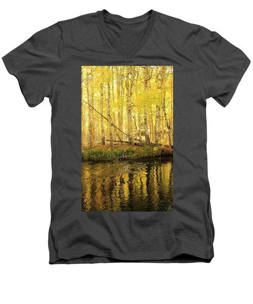 Autumn Soft Light In Stream Men's V-Neck T-Shirt