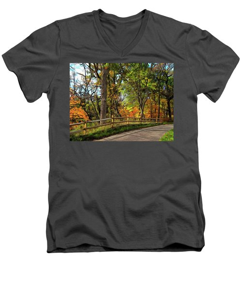 Autumn Song Men's V-Neck T-Shirt by Cedric Hampton